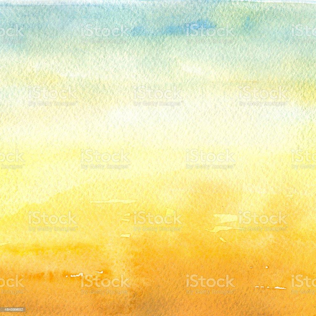 Desert - Watercolor Background vector art illustration