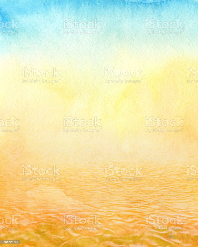 desert, watercolor background vector art illustration
