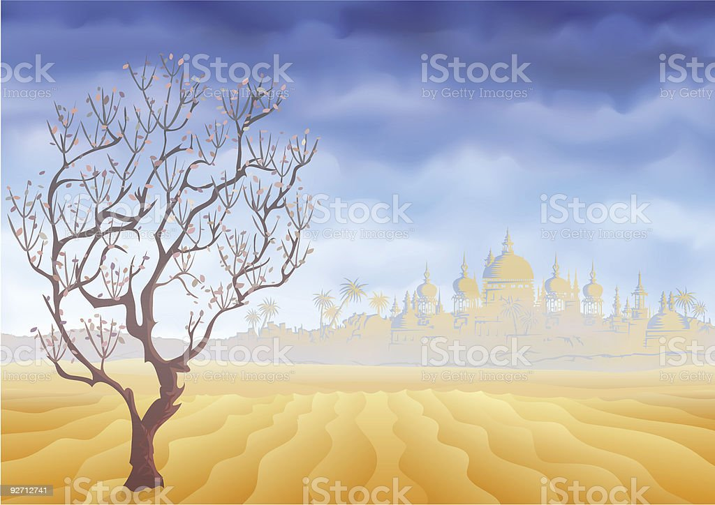 Desert withering tree and an ancient oriental castle mirage royalty-free stock vector art