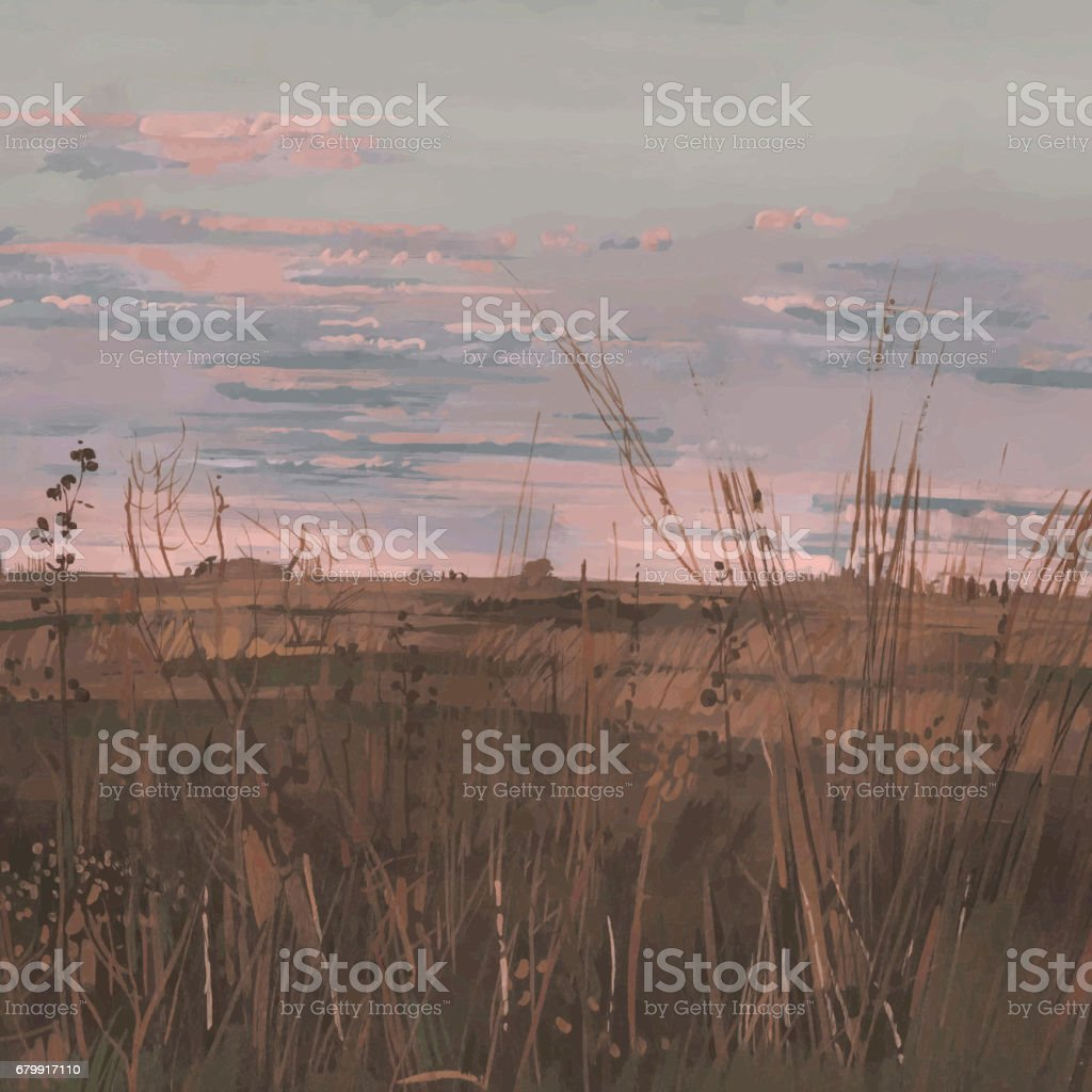 Deserted landscape with cloudy sky in autumn. vector art illustration