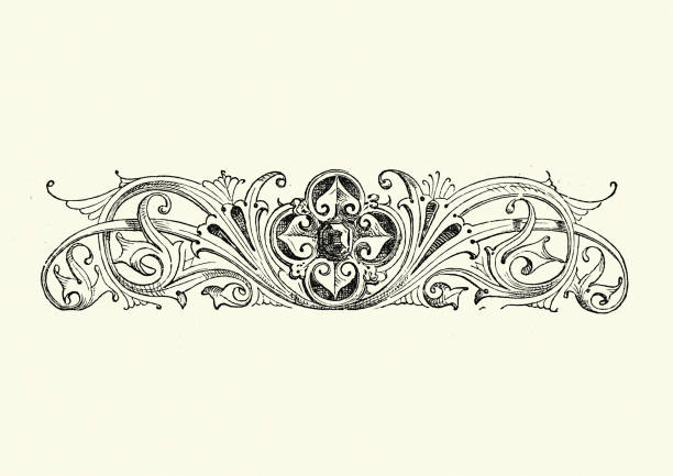 Design element, Jewel amoung swirls vector art illustration