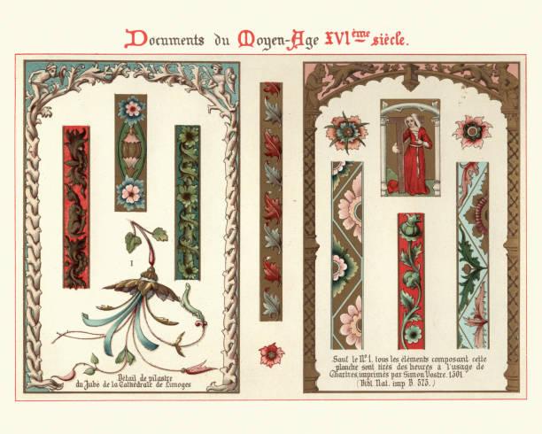 Design elements, decorations, borders, frames, floral pattern 16th Century style vector art illustration