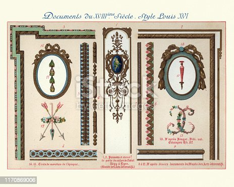 Vintage engraving of Design elements decorative art, Louis XVI style, 18th Century