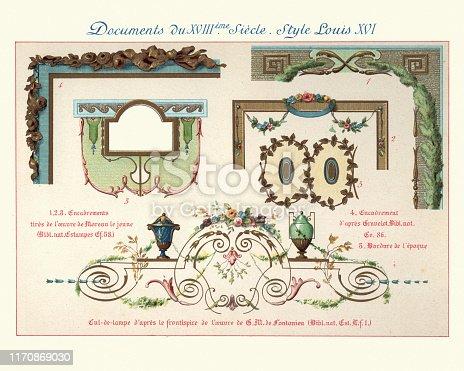 Vintage engraving of Design elements decorative art, Louis XVI style, 18th Century