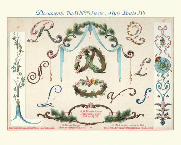Design elements decorative art, Louis XVI style, 18th Century vector art illustration