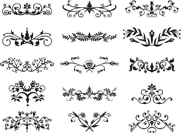 design elements - floral scroll style vector art illustration