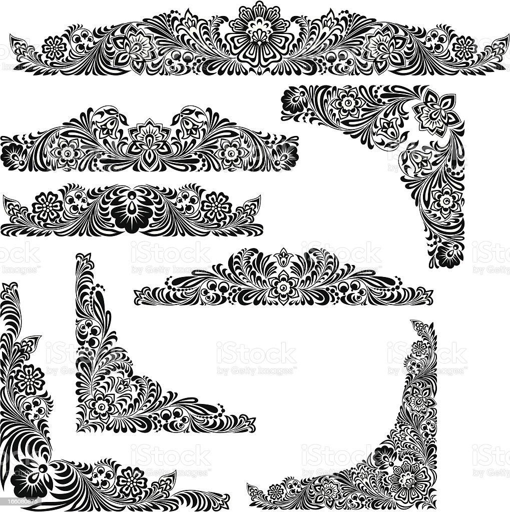 Design Elements in Khokhloma Style vector art illustration