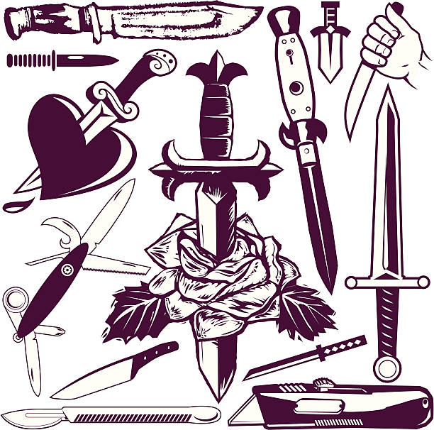 Design Elements - Knives & Daggers 13 different pieces of knife clip-art. switchblade stock illustrations