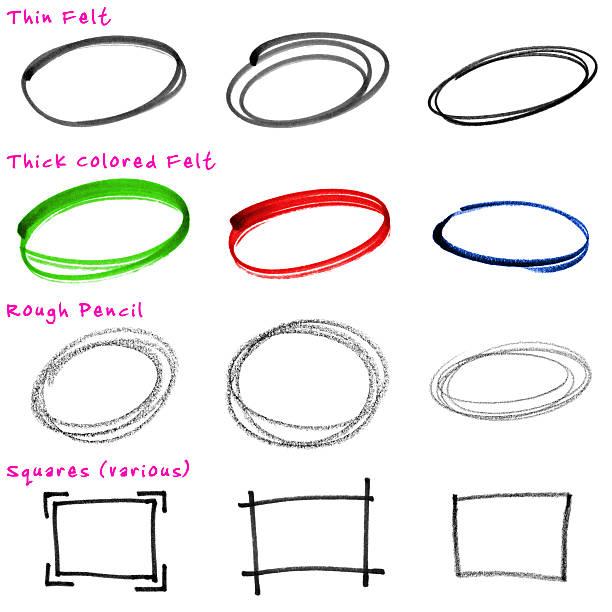 Design Elements: Rough, Hand-drawn Circles vector art illustration