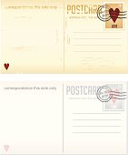 Two seperately saved postcards with love themed stamps and postmark that reads 14 FEB 2007 - Valentine's Day.