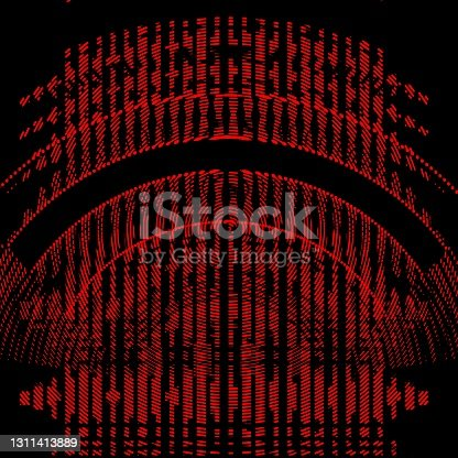 istock design of city arched gateway entrance in dark red halftone style 1311413889
