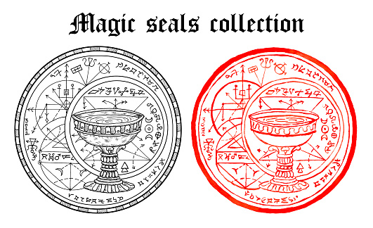 Design set of magic seals with ritual cup and mystic symbols isolated on white.