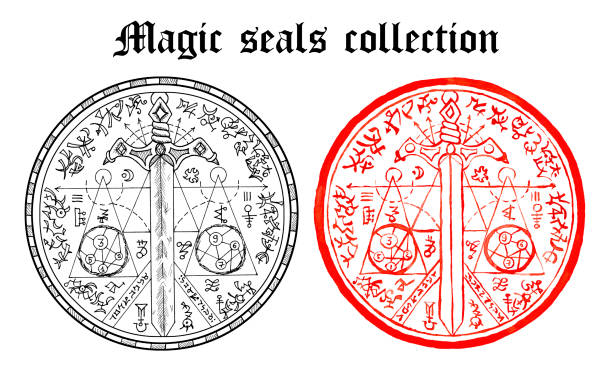 Design set of magic seals with sword and mystic symbols isolated on white. vector art illustration