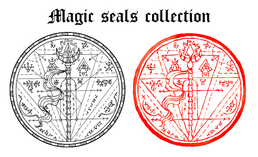 Design set of magic seals with wand and mystic symbols isolated on white.