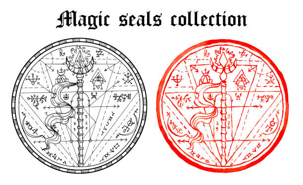 Design set of magic seals with wand and mystic symbols isolated on white. vector art illustration