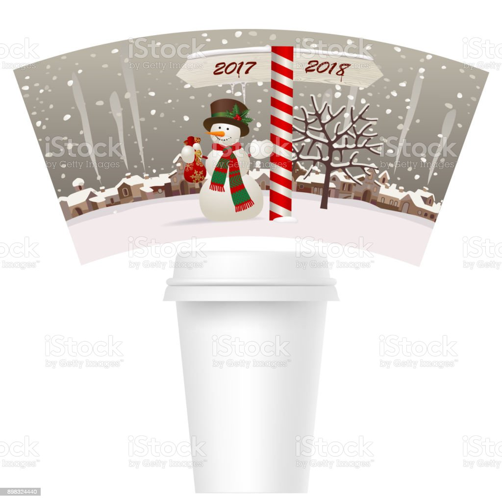 Design Template paper cup for coffee with a snowman near the milepost showing the way to 2018 against the winter landscape. vector art illustration