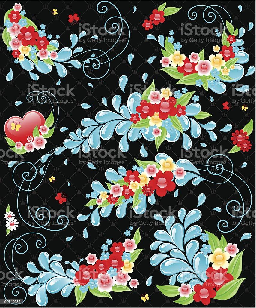 Design mit Tropfen und Blumen. Lizenzfreies design mit tropfen und blumen stock vektor art und mehr bilder von abstrakt