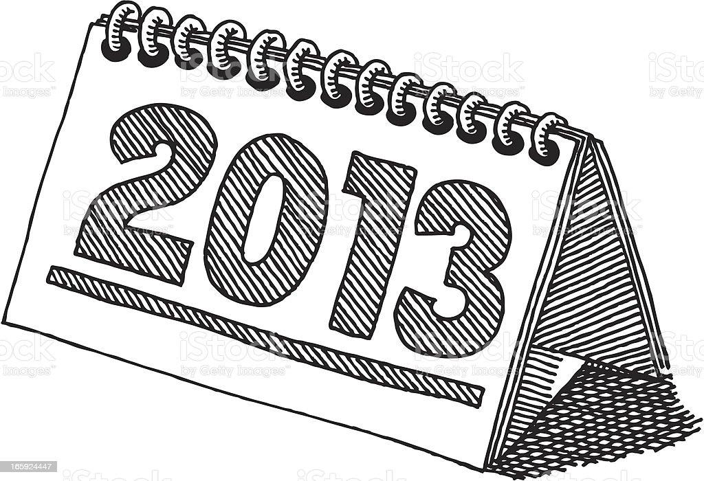 Desktop Calendar 2013 Drawing vector art illustration