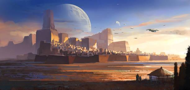 Desolate Alien, Wüstenschloss, Science-Fiction-Illustration, digitale Illustrationen, 3D-Darstellung. – Vektorgrafik