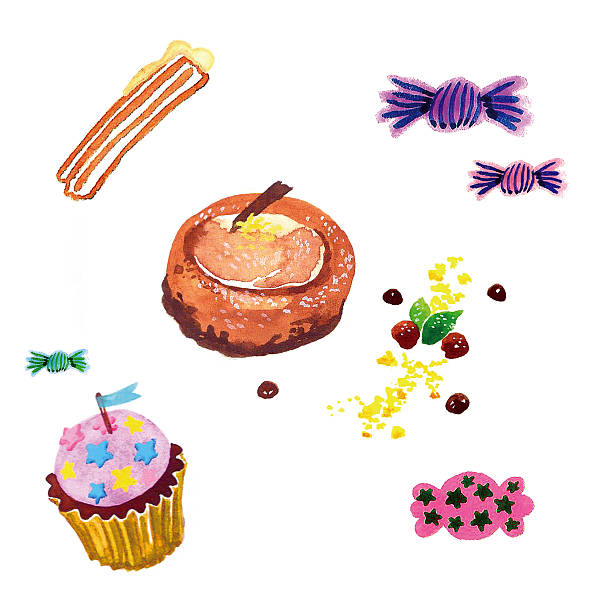 dessert drawing - churro, cheese cake, cupcake,candy vector art illustration