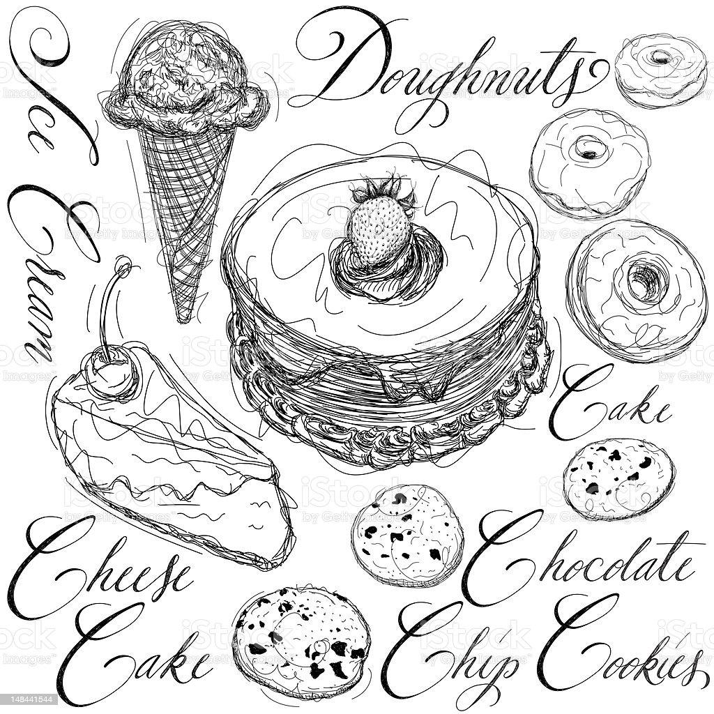 Dessert sketches vector art illustration