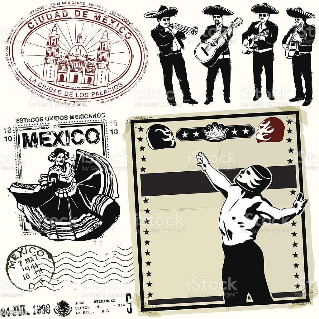 Destinacion Ye Olde Mexico vector art illustration