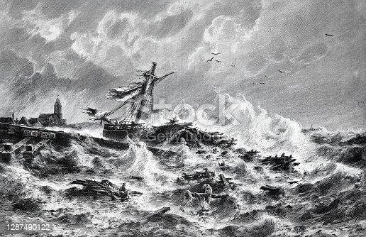 istock Destroyed ship in heavy seas 1287490122