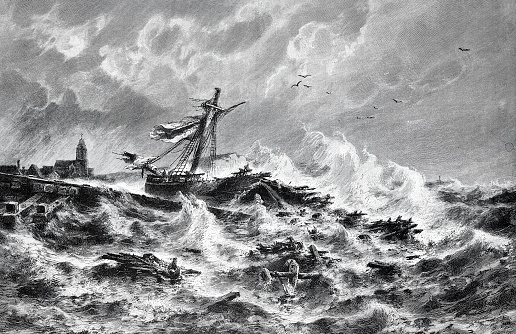 Destroyed ship in heavy seas