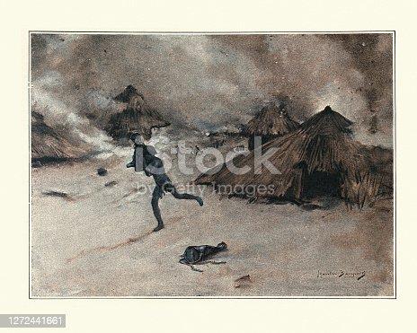 Vintage illustration Destruction of a native village, Victorian 19th Century.  Le Fetiche, Jacques Frehel