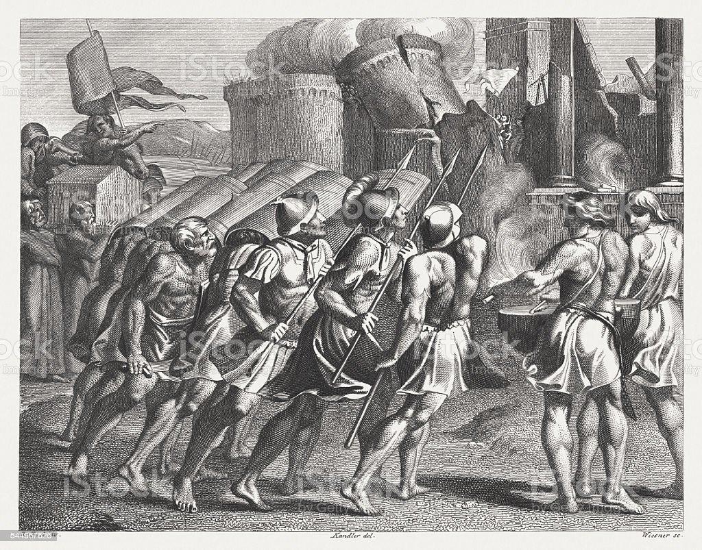 Destruction of Jericho (Joshua 6), steel engraving, published in 1841 vector art illustration