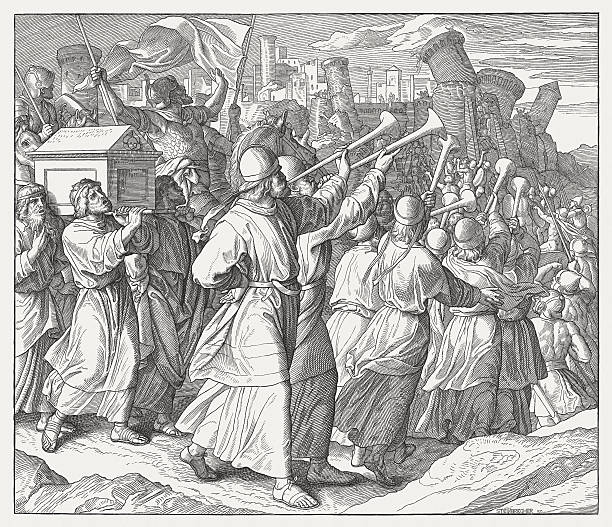 Destruction of Jericho (Joshua 6), wood engraving, published in 1860 vector art illustration