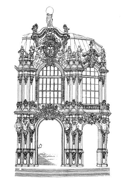"Detail from the ""Zwinger"" pavilion in Dresden Illustration of a Detail from the ""Zwinger"" pavilion in Dresden zwanger stock illustrations"