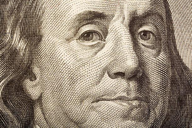 Detail of 100 Dollar bill  american one hundred dollar bill stock illustrations