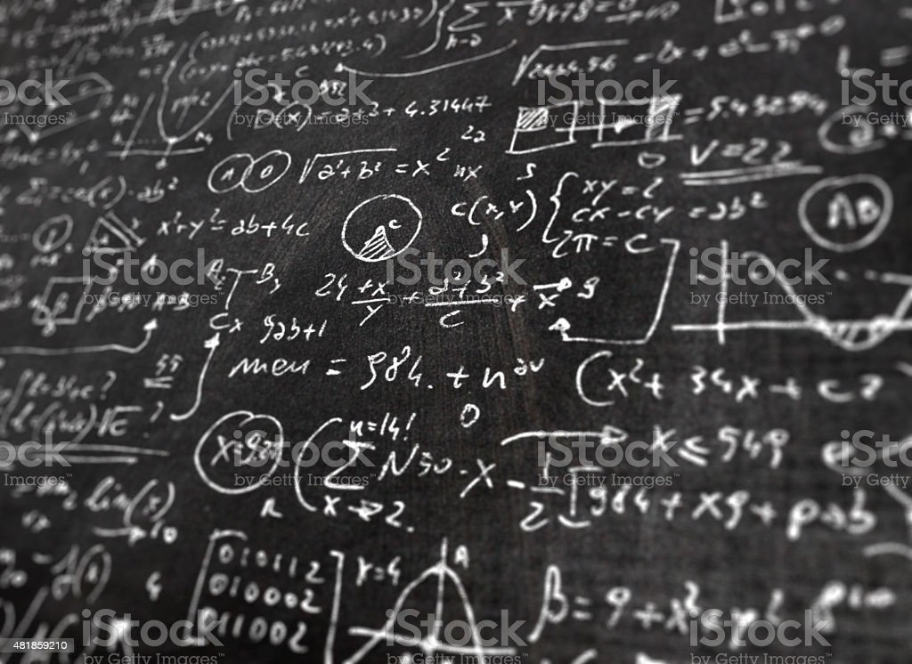 Detail of complex math formula on science class blackboard vector art illustration