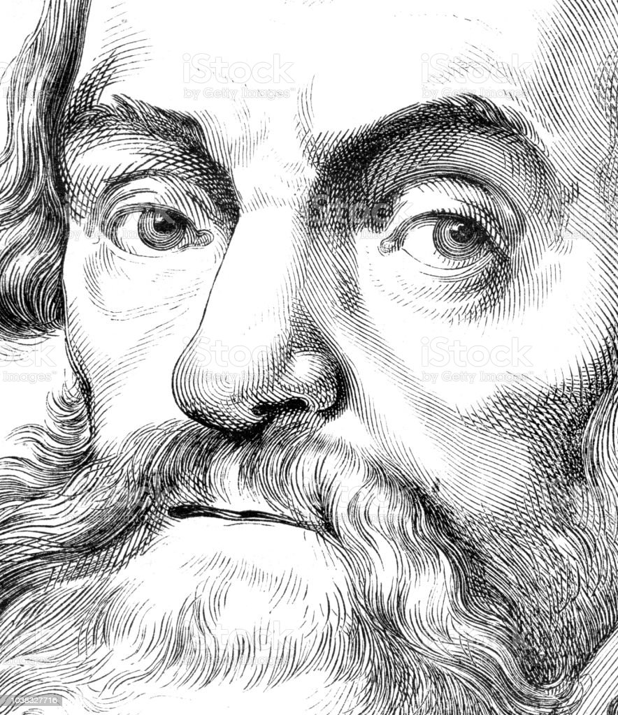 Detail of human face man with beard illustration vector art illustration