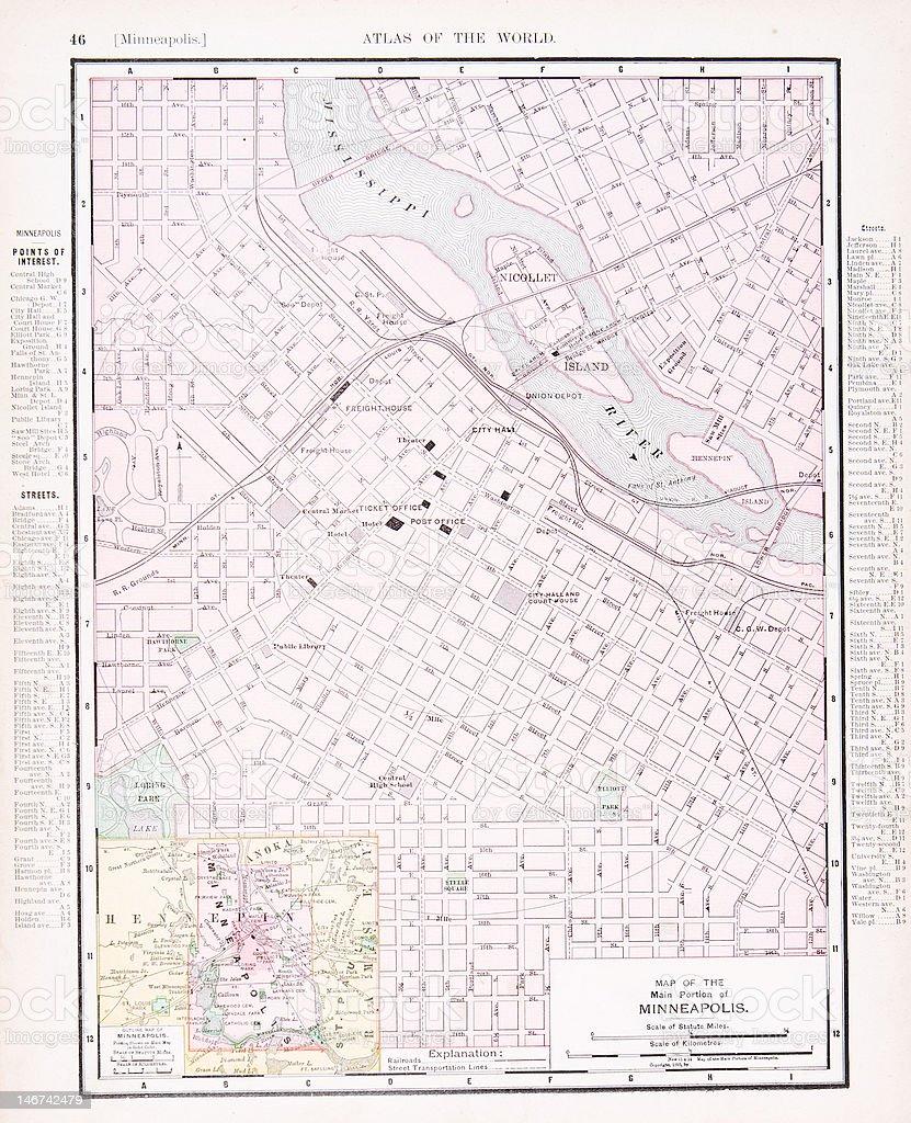 Detailed Antique Color Street City Map Minneapolis Minnesota ...
