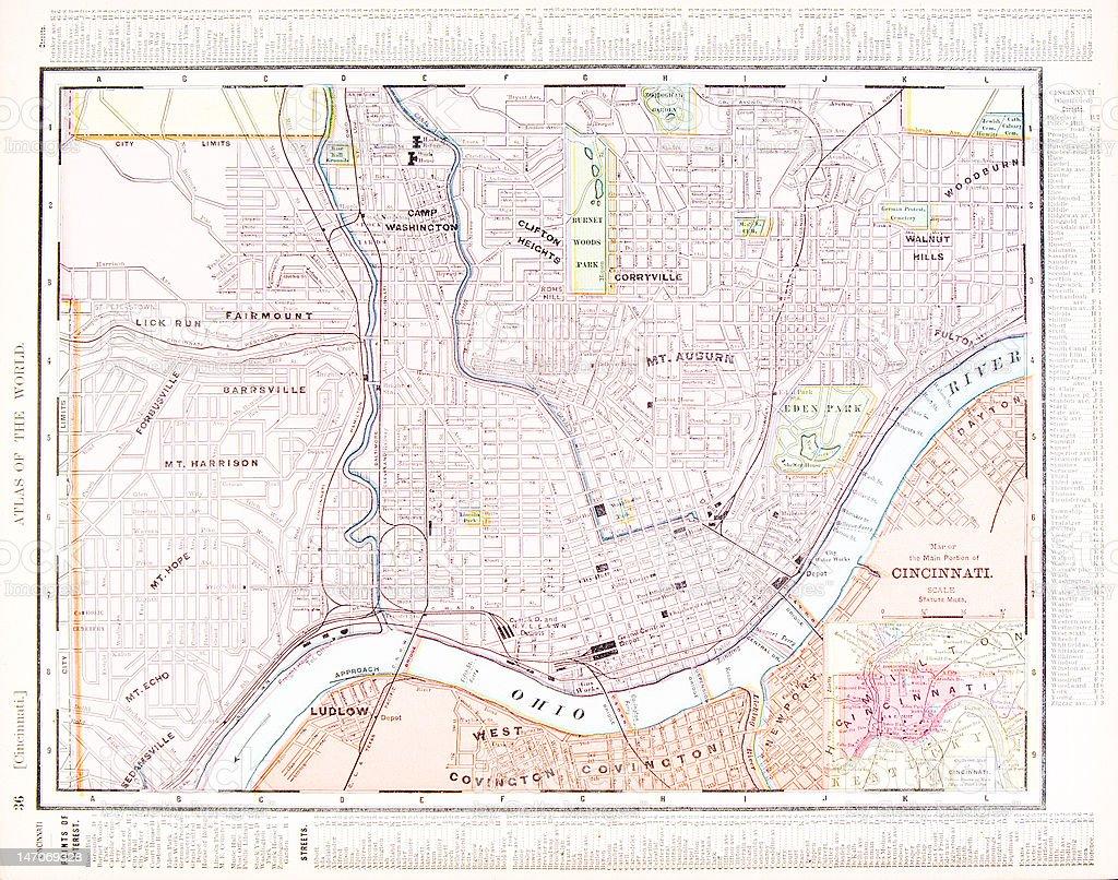 Detalhada Cor Antigo Mapa De Rua De Cidade De Cincinnati Ohio Eua