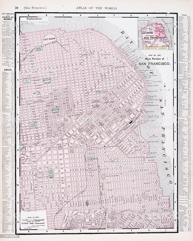 Detallada De Color Antiguo Mapa De Calle De La Ciudad De San - Mapa de california usa