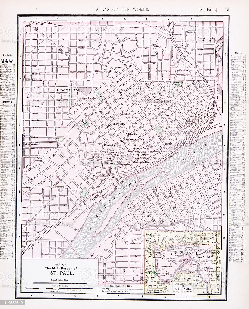Detailed Antique Color Street City Map St Paul Minnesota Usa Stock - Color in usa map