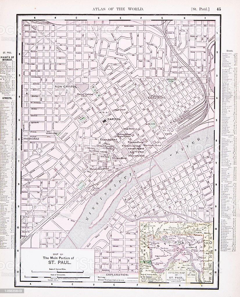 Detailed Antique Color Street City Map St. Paul, Minnesota, USA vector art illustration