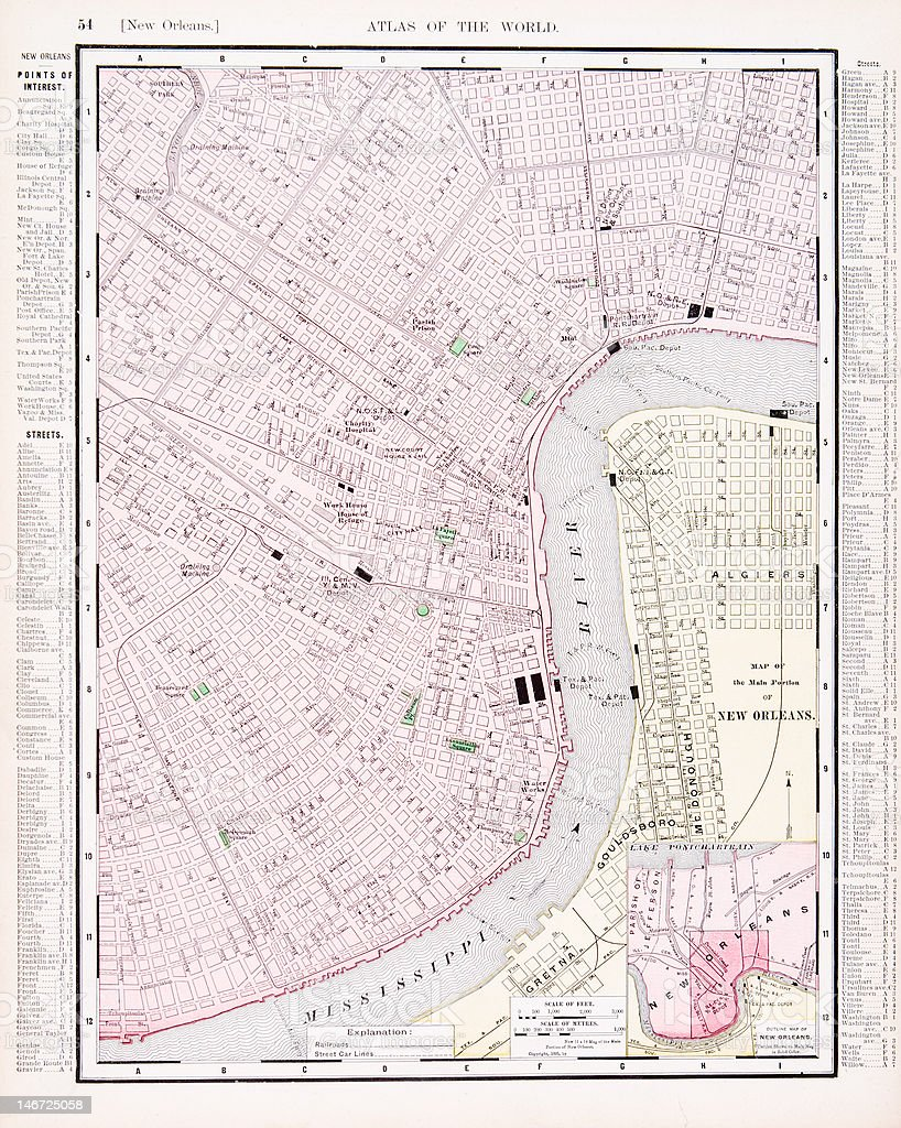 Detailed Antique Vintage Color Street City Map New Orleans Louisiana
