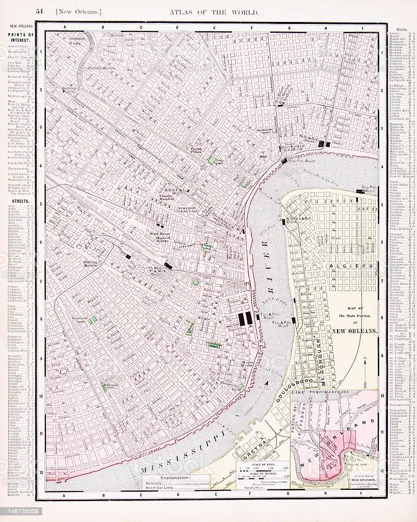 Detailed Antique Vintage Color Street City Map New Orleans Louisiana vector art illustration