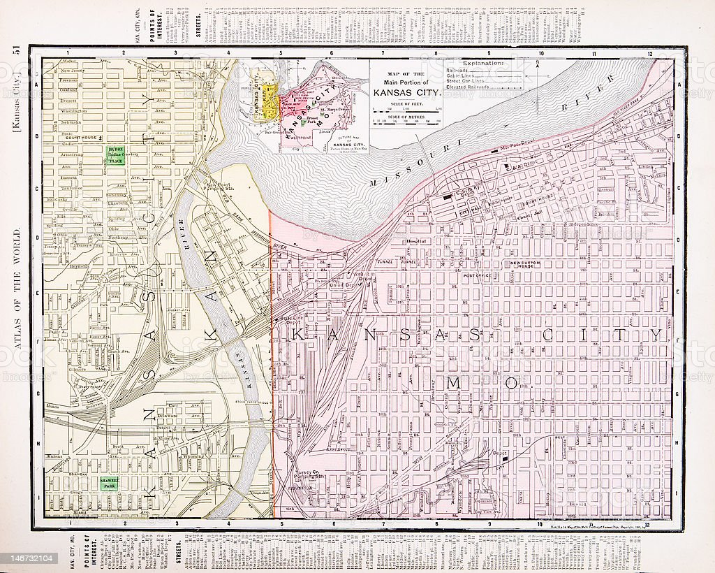 Detailed Antique Vintage Color Street Map Kansas City Missouri Usa ...