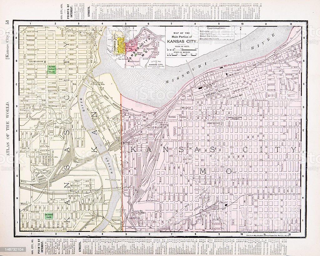 Detailed Antique Vintage Color Street Map Kansas City Missouri, USA vector art illustration