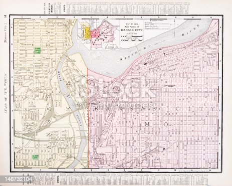 Detailed Antique Vintage Color Street Map Kansas City Missouri Usa - Detailed map of kansas