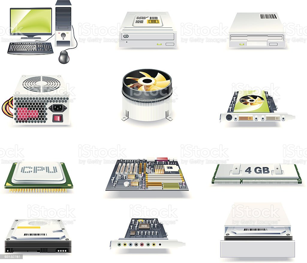 detailed computer parts icon set. Part 1 royalty-free stock vector art