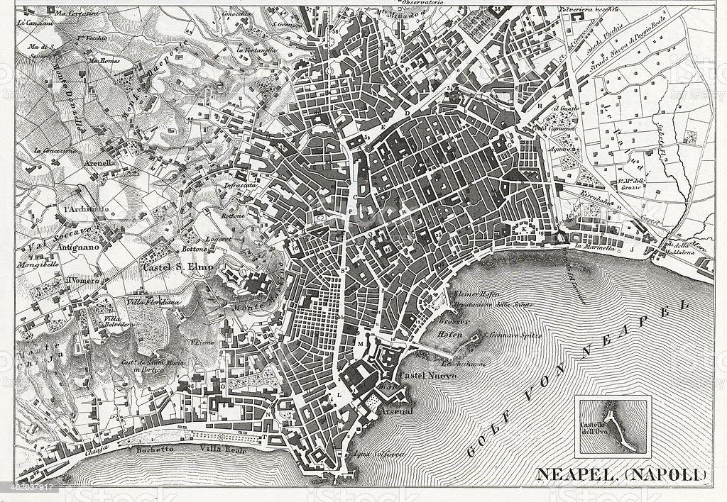 Dettagli Incisi Bianco E Nero Mappa Di Napoli Italia Immagini