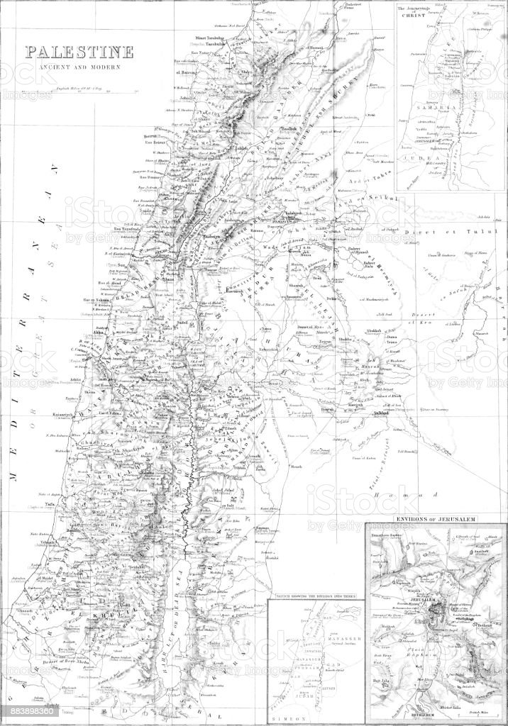 Mapa detalhado da antiga e moderna da Palestina / Israel a partir de 1879 - ilustração de arte em vetor