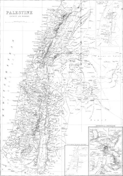ilustrações, clipart, desenhos animados e ícones de mapa detalhado da antiga e moderna da palestina / israel a partir de 1879 - mapa do oriente médio
