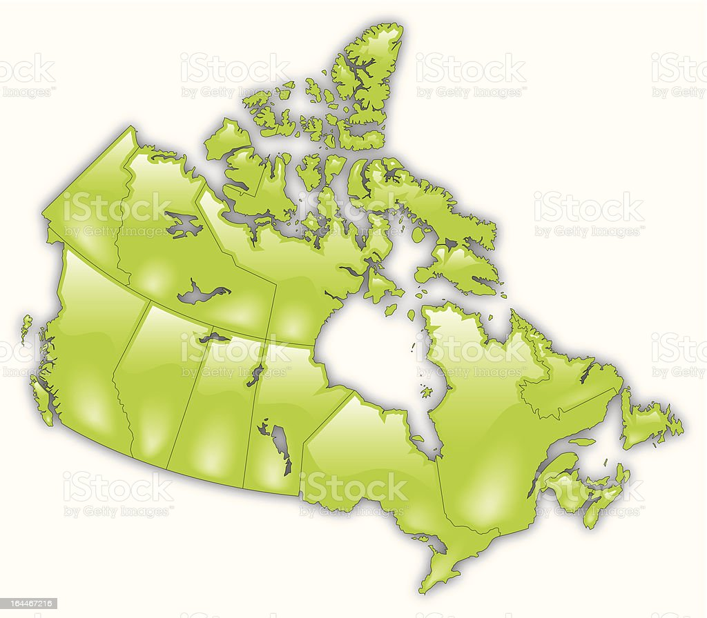 \'A highly stylized and detailed map of Canada. Each province is a...